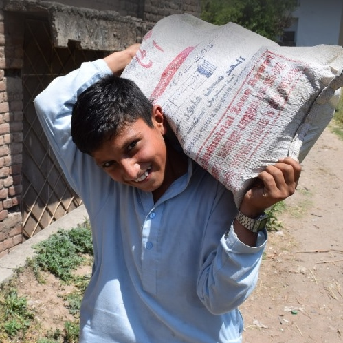 Food supplies for poor family in Pakistan