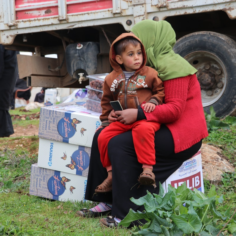 Displaced family in Idlib, Syria