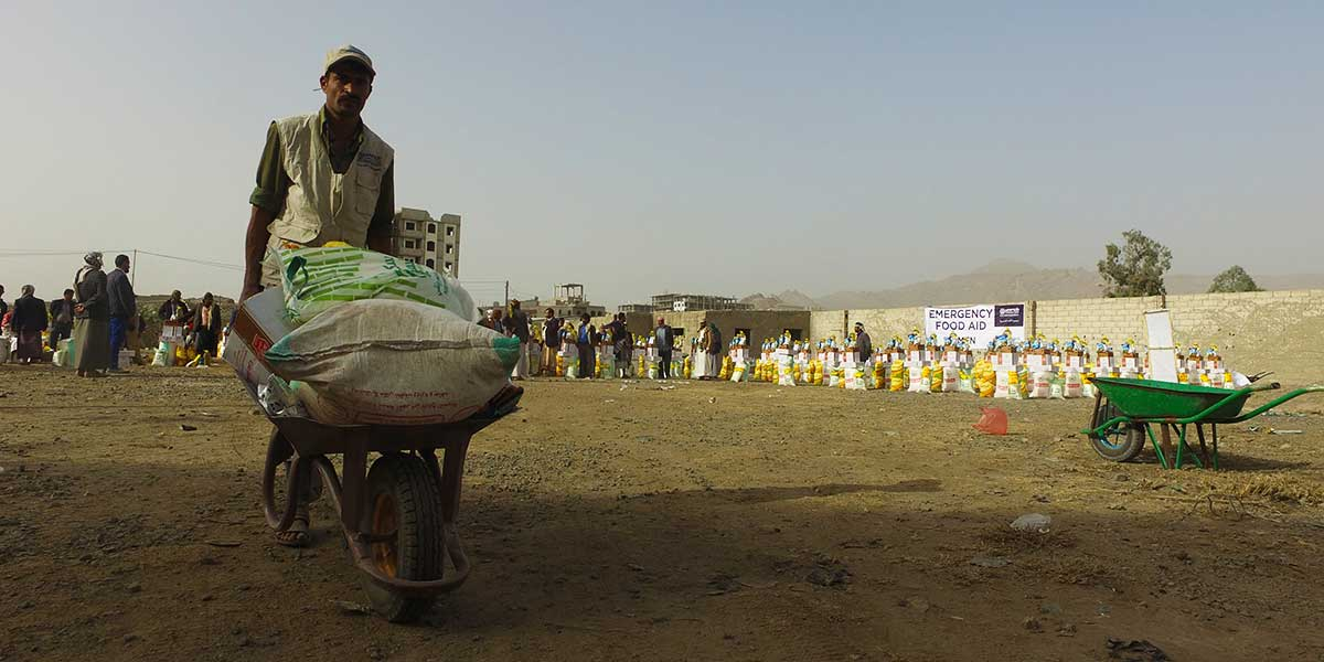 Carrying Food For The Hungry In Yemen