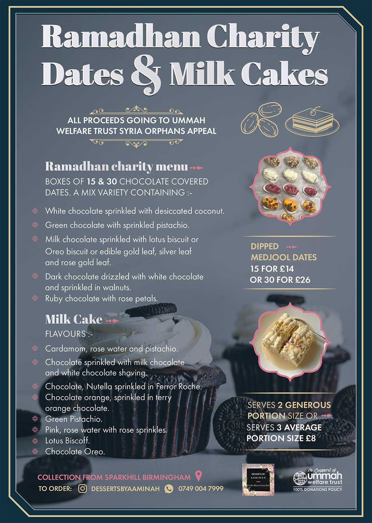 Charity Dates and Milk Cakes Sale